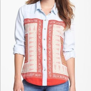 Lucky Brand Tops - Lucky Brand Dixie Scarf Print Chambray Top